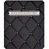 Affichage Planches/Memo/XL 48x 60cm en lin noir avec Criss Cross rubans & Or Clous, Bulletin Boards, Message, planches