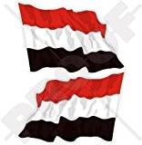 Agiter Yémen al-Yaman, drapeau du Yémen 7,6cm (75mm) en vinyle Bumper Stickers, Stickers x2