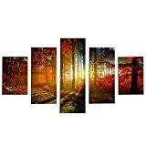 AIHOME™ TableauToile à Motifs SANS Chassis Peinture Decoration Murale 5 Parties(La forêt)