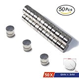 Aimants néodymes par Magnetpow, 50 pcs 6 mm x 3 mm en acier inoxydable Craft Aimant, Super solide N45 Aimants de cylindre pour Refridgerator ...