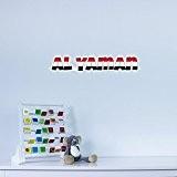 Al Yaman Country Name As Flag Vinyl Wall Art Sticker / Autocollant en Vinyle pour Deco Maison
