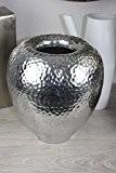 Aluminium Vase bombé 26x 30Argenté Hauteur hammerschlag martelé Table Amphore