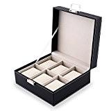 Amzdeal Coffret montre en cuir Boîte rangement pour montres avec serrure et oreillers moelleux(6 compartiments - Noir)