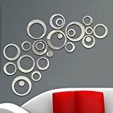 aooyaoo Autocollant Mural Rond 3D DIY Imperméable Miroir Chambre Salon Cuisine Salle de Bains Bureau Plafond cercle