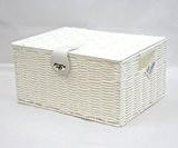 Arpan Panier de rangement de taille moyenne en résine tressée avec couvercle & serrure Blanc