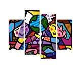 Art Contemporain emblématique enfants art mural sur toile du monde par Romero Britto x Photo Home Décor imprimé de décoration ...