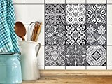 Art de tuiles mural | Sticker Autocollant Carrelage - Enjolivure de salle d'eau | Design Black n White | 15x15 ...