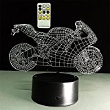 ATD® Creative Tirer Le Vent De Moto 3D Illusion Optique Gradients Colorés LED Night Light Lampe De Bureau Télécommande 15 ...