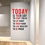 Aujourd'hui est votre jour pour commencer à frais... Sticker Mural Empire quote-health et Spinning Kettlebell pour entraînement Fitness Boxe UFC ...