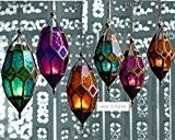 Authentique des Lanterne marocaine, photophore en verre à suspendre, Verre, or, Small Orange