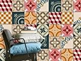 Autocollant carreaux ciment adhésif | PVC Stickers - Home décoration pour crédence cuisine et faience salle de bain | Film ...