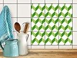 Autocollant Carrelage Sticker | Enjolivure de chambre d'enfants - Mosaique murale | Design 3D Cubes - Vert | 10x10 cm ...