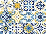 Autocollant Vinyle décoratif Motif carreaux portugais de la collection Alfama (12 pcs) (15 x 15cm)