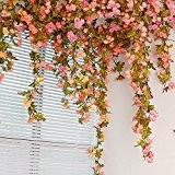 Autumn Rose Garland Vigne Rose Artificielle avec Feuilles Vertes Vignes à fleurs Plantes Décoratives Fleur Artificielle Vignes Garland Lot de ...