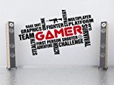 Awesome Art Mural Pro Gamer Word Cloud autocollant pour salle de jeux chambre Man Cave, large:100cm x 57cm