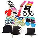 Awhao 44PCS Les Props colorees sur un baton Favor Moustache Photo Booth Birthday Party de Noel Fun mariage