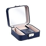 B.Catcher Boîte à bijoux en similicuir bleu foncé, Boîte élégante à bijoux, Boîte pour rangement, Coffret à bijoux, pour les ...