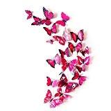 Badalink 12 Stickers Muraux de Papillons 3D Sticker Mural Autocollants Bricolage Papillon Stickers Frigo Déco Cuisine avec Aimant de Fixation ...