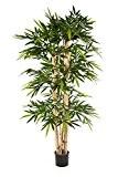 Bambou artificiel KISHO, 1150 feuilles vertes, troncs massifs, 180 cm - Plante d'intérieur / Bambou synthétique - artplants