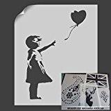 Banksy Balloon Girl Pochoir pochoirs décoration murale art Idéal pour pochoirs, Plastique, S/A4- (w)6.7 x (h)9.8 inches