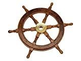 Barre à roue de navire - bois/laiton - 60 cm