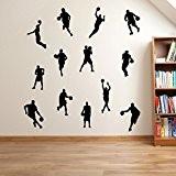 Basket-ball, lecteurs basketballers Lot de 13stickers décoration murale Fenêtre Mur DeCor Stickers muraux Art Mural Stickers muraux Stickers muraux Stickers ...