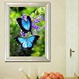 Bazaar 20x30cm 5d papillons bleus peinture diamant bricolage pleine animal strass décoration kit point de croix