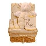Bee Bo - Cadeau de naissance - Body, bavoir, chausson, ourson dans un panier en osier - 0-3 mois - ...