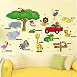 Befitery Jungle sauvage animaux sticker mural sticker tickers muraux pour chambre de bébé à motifs jungle / Enfants Chambre WallPaper(Cartoon ...