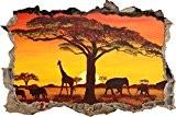 belle paysage de savane mur percée en 3D look, mur ou format vignette de la porte: 92x62cm, stickers muraux, sticker ...