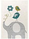 benuta Tapis Enfants / pour chambre d'enfants Birdies and Elephant pas cher Bleu 80x150 cm - Label de qualité GuT ...