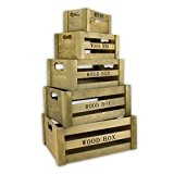 best ambiente Lot de 5 caisses de rangement « vintage » En bois Marron