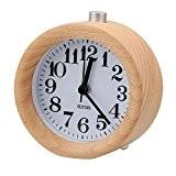 BESTOPE Mignon Réveil Classique Silencieux Alarme Horloge de Chevet en Bois de Hêtre avec Veilleuse pour le bureau et la ...