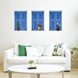 BL stéréo 3D (de Windows image)-Sticker mural Papier peint HD Papier autocollant Fond Chambre Salon TV canapé (55* 35cm)