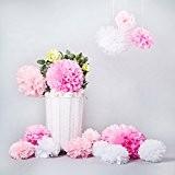 Bliqniq 15x fleurs en papier de soie pour la décoration de la noce,du baby shower.Blanc/Rose Clair/Rose(ø20,25,35cm)