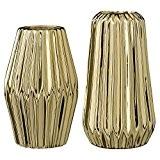 Bloomingville Vases, à cannelures, Porcelaine dorée, 2 pièces