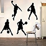 Bluelover 23X60CM jouant basket-ball autocollants amovible Sports Basketball Stickers Home Boy chambre Decor Wall Sticker Mural