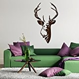 Bois de cerf - Sticker mural Marron 50 x 86 cm (Muraux Décoration Murale Stickers Wall Decal Autocollants Salon Chambre ...
