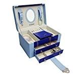 Boîte à bijoux femme DEJUSTESSE - Elégant coffret pour rangement de vos bijoux - Agencement de couleurs bleues - Revêtement ...