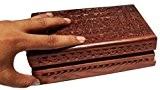 Boîte à bijoux vintage en bois, boîte de rangement avec le travail de sculpture (6X4 pouces) Cadeau de votre Saint-Valentin ...