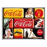 Boite de 9 mini-magnets Coca-Cola