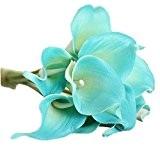 Bouquet de 9pcs Lys Calla Fleur Artificielle en PU Décroation Mariage et Maison - Bleu
