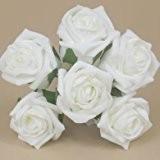Bouquet de roses artificielles Couleur durable - 21 cm-Blanc