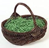 Brauns-Heitmann 62617 Panier en osier avec garniture verte imitation herbe - Marron - environ 24 x 19 x 10 cm