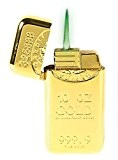 Briquet tempête à gaz rechargeable immitation lingot d'or avec une flamme verte