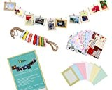 Bundle Monster Kit de décoration murale avec cadres photos, mini pinces à linge et autocollants Pour photos 10 x 15 ...