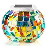 {Cadeau d'Ambiance} GRDE® Mosaic Globe Lampe Solaire Décoration Veilleuse Lanterne pour Fête,Soiree, Jardin, Ami, Stylo Porte