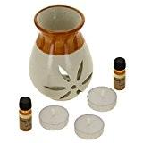 Cadeau indienne Santal Fragrance Set avec Paire de 10mL huiles parfumées, 3 lumignons et un Handcrafted céramique Burner Vaporisateur - ...
