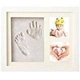 Cadre Empreintes Main Baby Print Photo Empreinte Bébé Cadre Photo Cadeau pour Nouveau Née (Blanc)