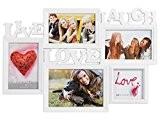 Cadre pêle-mêle 45 x 31 x 1,5 cm (Alsino 94/2430) Blanc LIVE LOVE LAUGH pour 5 photos Une idée cadeau ...